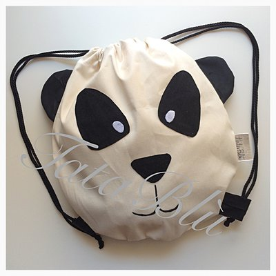 """Sacca Zainetto per l'asilo in cotone """"Panda"""""""