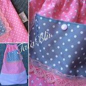 Zainetto in tessuto a pois e cuoricini rosa