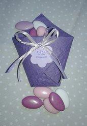 Bustina origami porta riso o confetti in carta cotone lavanda per matrimoni, Battesimi, comunioni