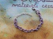 Base bracciale catena di seta lilla