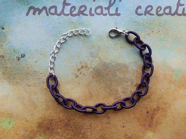 Base bracciale catena di seta viola
