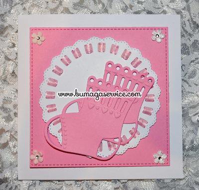 "Biglietto nascita o battesimo ""calzette rosa"""