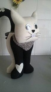 Gatto fermaporta 42 cm bianconero