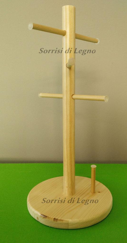 Portagioie in legno naturale per collane, bracciletti e anelli