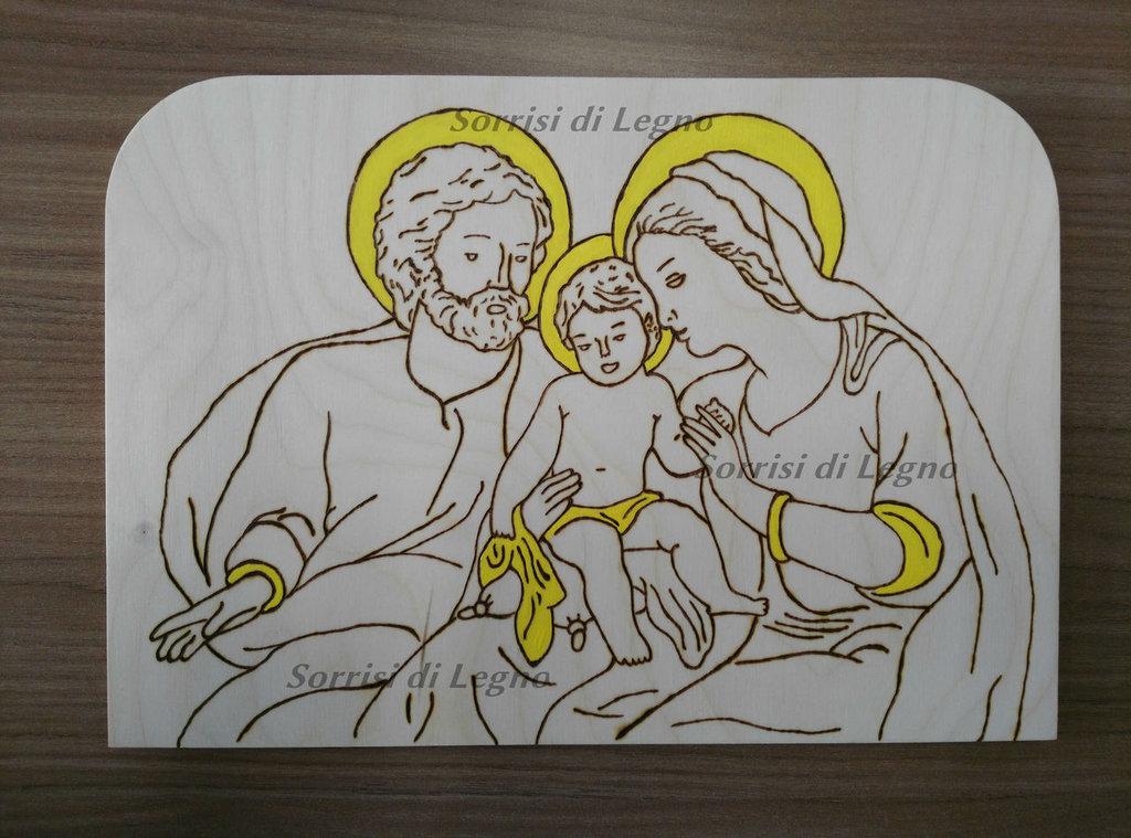Pala Sacra Famiglia in legno da tavolo