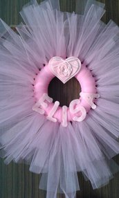 Fiocco ghirlanda coccarda nascita per bimba in tulle rosa con nome
