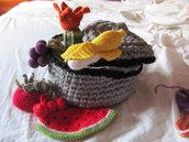 pentola di cotone con fruttini all'uncinetto