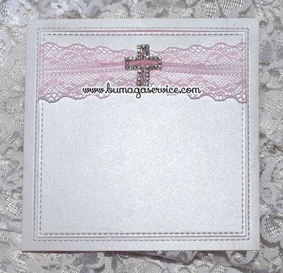 """Cartoncino nascita o battesimo """"croce con pizzo rosa"""""""