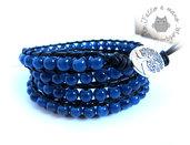Bracciale da uomo in stile Chan luu a 4 giri con perle in vetro Blu oceano e pelle nera,idea regalo,multigiro