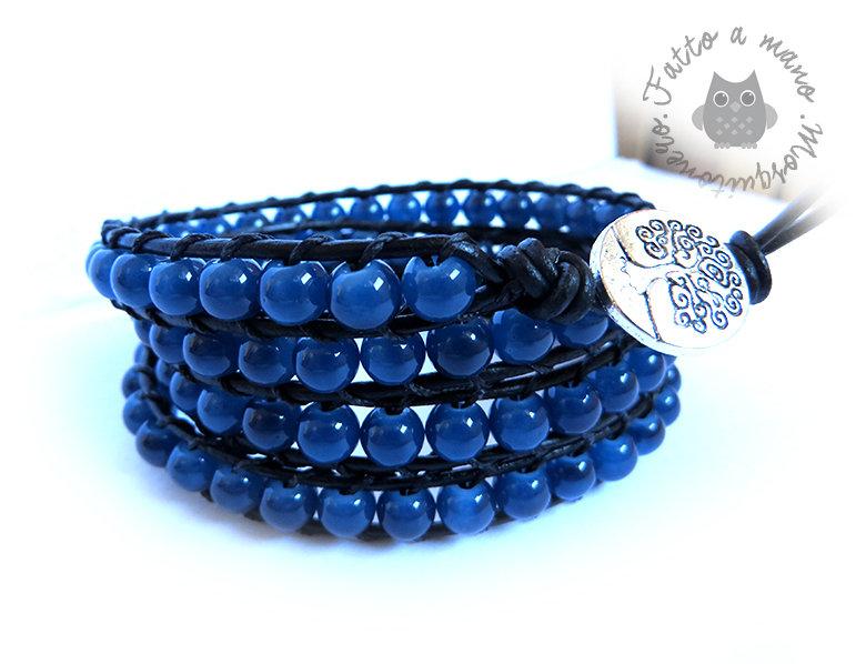 comprare popolare 38381 9b527 Bracciale da uomo in stile Chan luu a 4 giri con perle in vetro Blu oceano  e pelle nera,idea regalo,multigiro