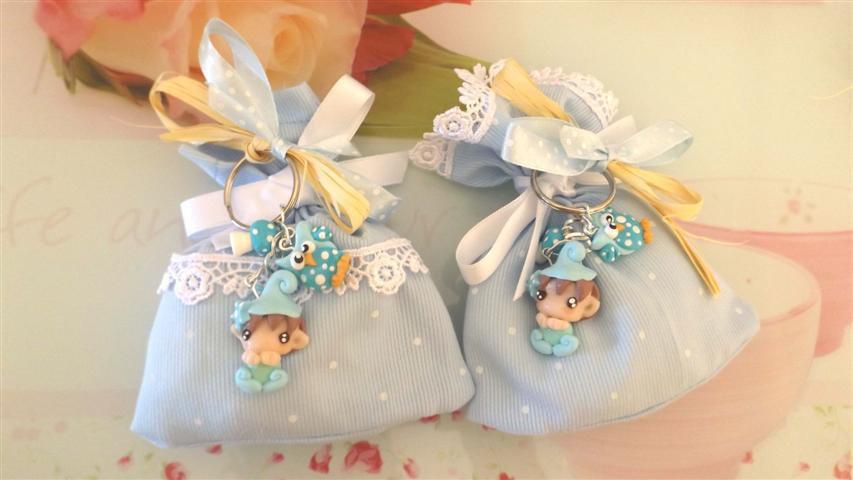 BOMBONIERA DELUXE - battesimo nascita - fimo - porta confetti sacchetti portachiavi FOLLETTO mod. 1