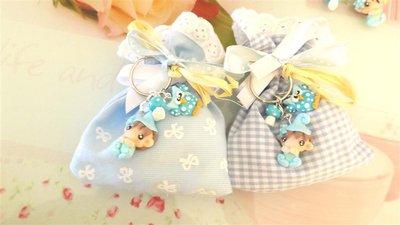 BOMBONIERA DELUXE - battesimo nascita - fimo - porta confetti sacchetti portachiavi FOLLETTO mod. 2