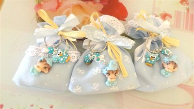 BOMBONIERA DELUXE - battesimo nascita - fimo - porta confetti sacchetti portachiavi FOLLETTO mod. 3
