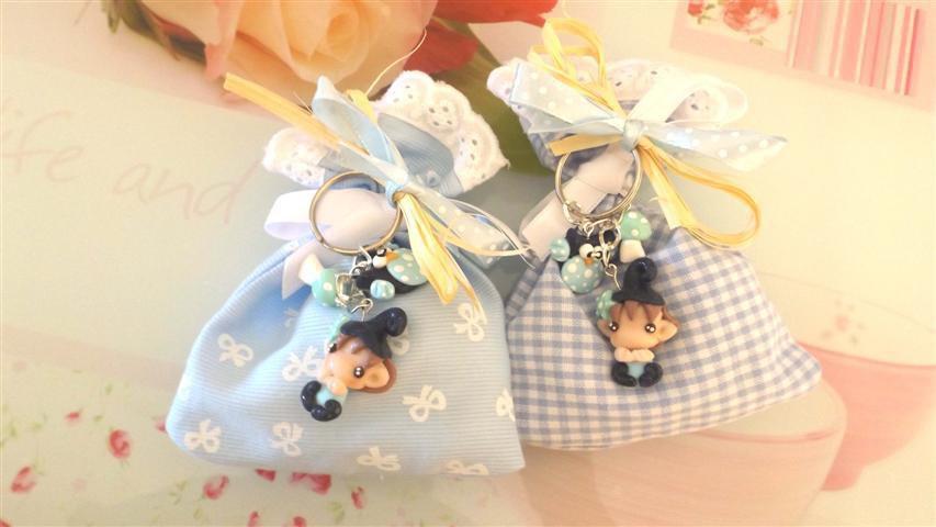 BOMBONIERA DELUXE - battesimo nascita - fimo - porta confetti sacchetti portachiavi FOLLETTO mod. 4