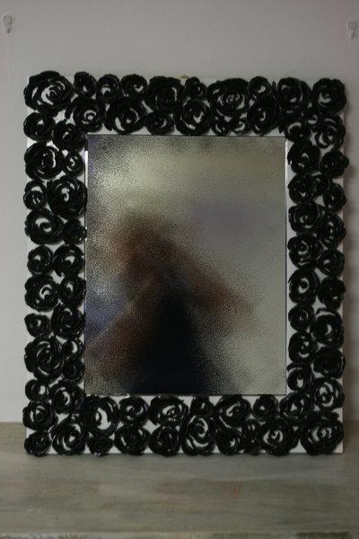 """Specchio floreale """"REGINA NERA"""" 65x50 cm"""
