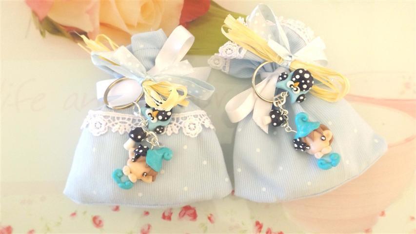 BOMBONIERA DELUXE - battesimo nascita - fimo - porta confetti sacchetti portachiavi FOLLETTO mod. 6