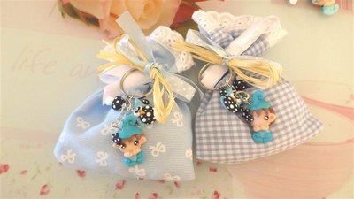 BOMBONIERA DELUXE - battesimo nascita - fimo - porta confetti sacchetti portachiavi FOLLETTO mod. 7