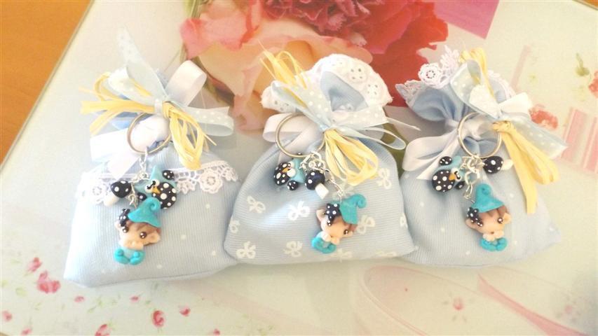 BOMBONIERA DELUXE - battesimo nascita - fimo - porta confetti sacchetti portachiavi FOLLETTO mod. 8