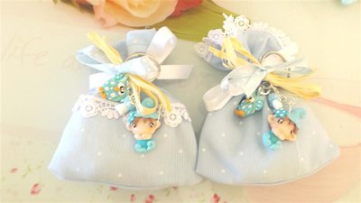 BOMBONIERA DELUXE - battesimo nascita - fimo - porta confetti sacchetti portachiavi FOLLETTO mod. 9
