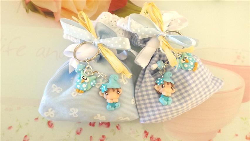 BOMBONIERA DELUXE - battesimo nascita - fimo - porta confetti sacchetti portachiavi FOLLETTO mod. 10