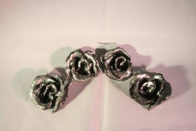 Orecchini floreali di Rose argento o oro