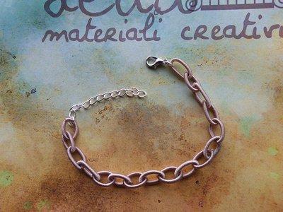 Base bracciale catena di seta grigio fango