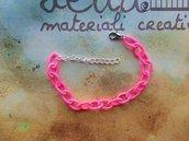 Base bracciale catena di seta rosa fluo
