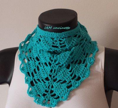 Bandana foulard da donna in cotone turchese lavorato all'uncinetto