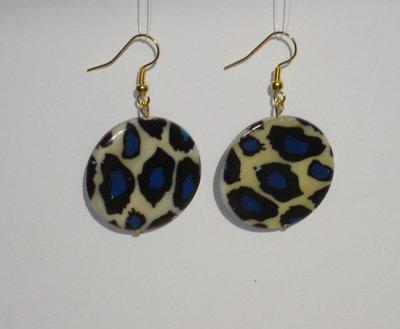 Boucles d'oreilles léopard bleues