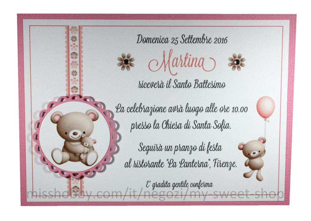 Invito Battesimo o per cerimonie e feste con orsetti