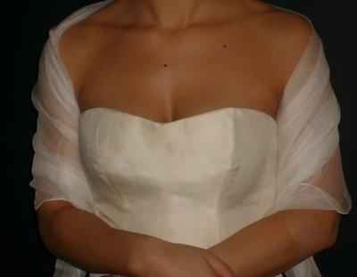 Etole de mariée mousseline de soie ivoire