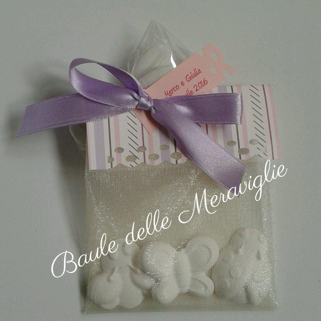 Bomboniera battesimo matrimonio comunione sacchetto di gessetti profumati