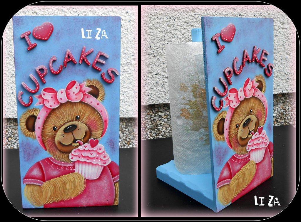 Portascottex in legno con orsetta golosa