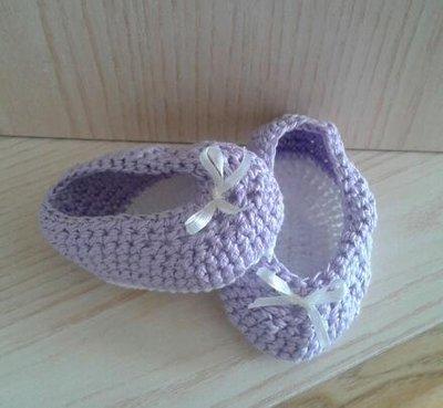 Ballerine bimba neonata cotone ad uncinetto