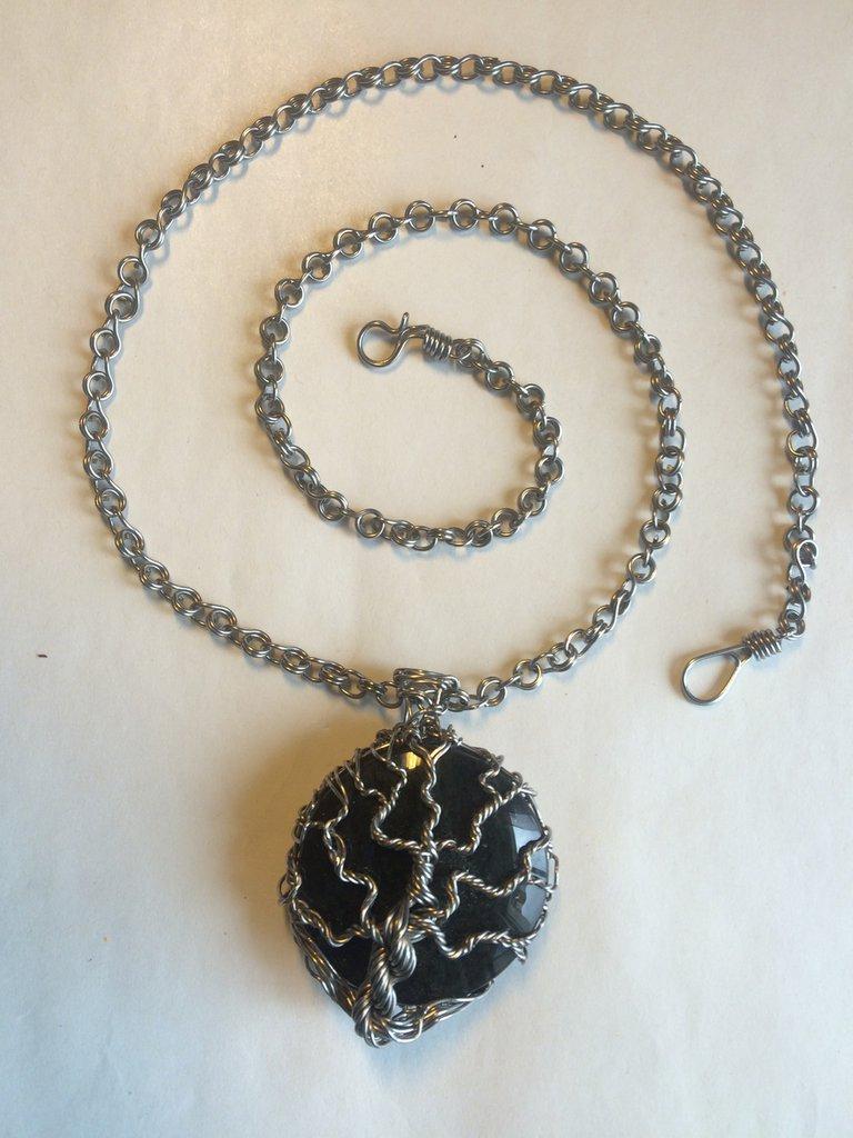 Collana Albero della Vita con ossidiana