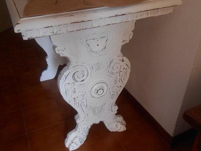 Tavolino shabby chic bianco in legno massello. - Per la casa e per ...