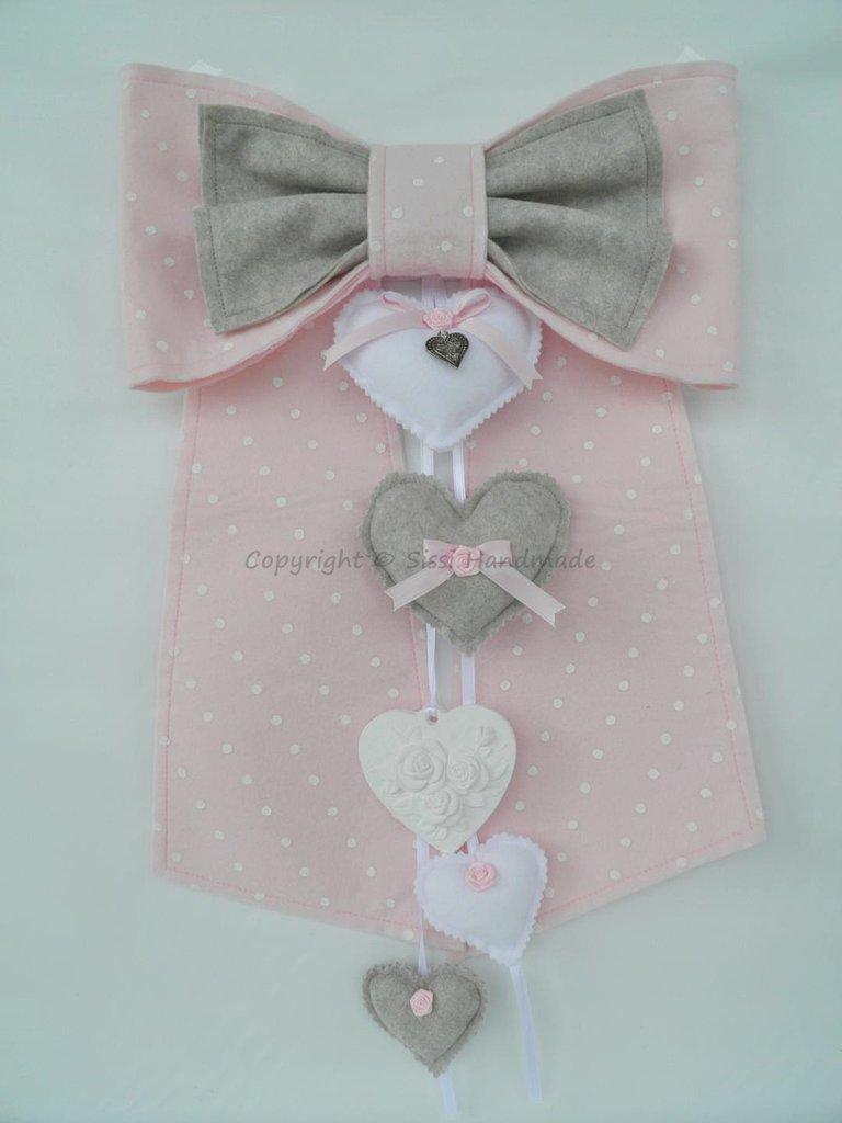 Fiocco nascita bambina in pannolenci rosa confetto e grigio caldo