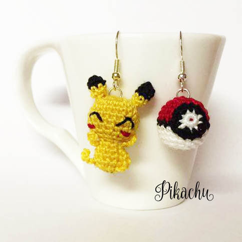 Pokemon orecchini amigurumi pikachu