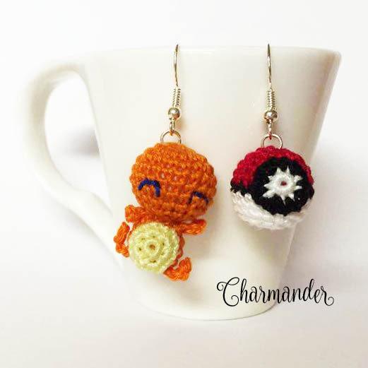 Pokemon orecchini amigurumi Charmader