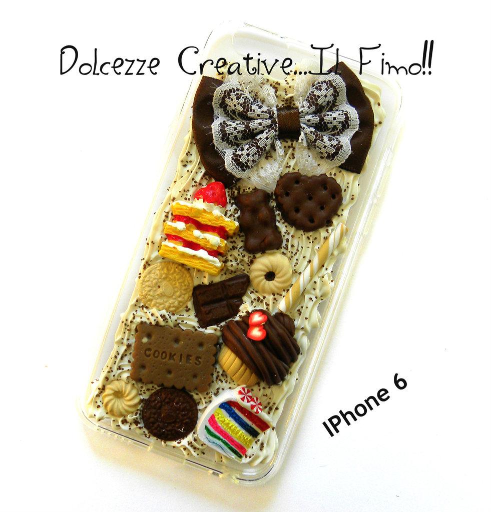 Cover IPhone 6/6s fiocco marrone, cioccolato, cupcake, kawaii, pastel goth, rainbow cake, torta