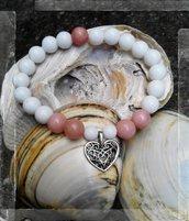 Bracciale elastico pietre dure agata e rodocrosite cuore
