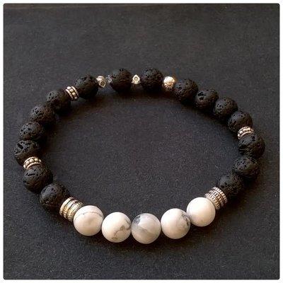 bracciale uomo con pietre dure, bianco e nero