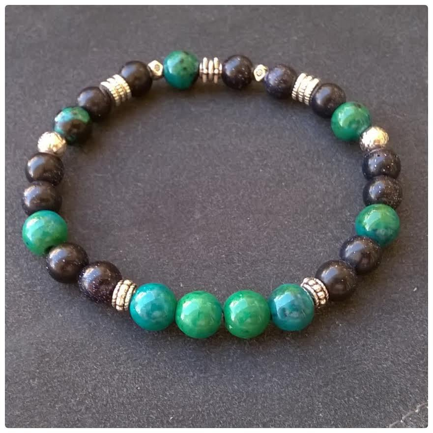 braccciale uomo con pietre dure, verde e blu