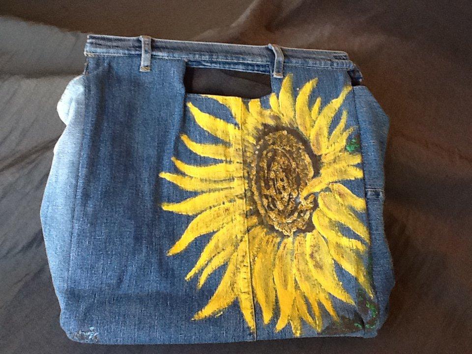 Borsa jeans girasole