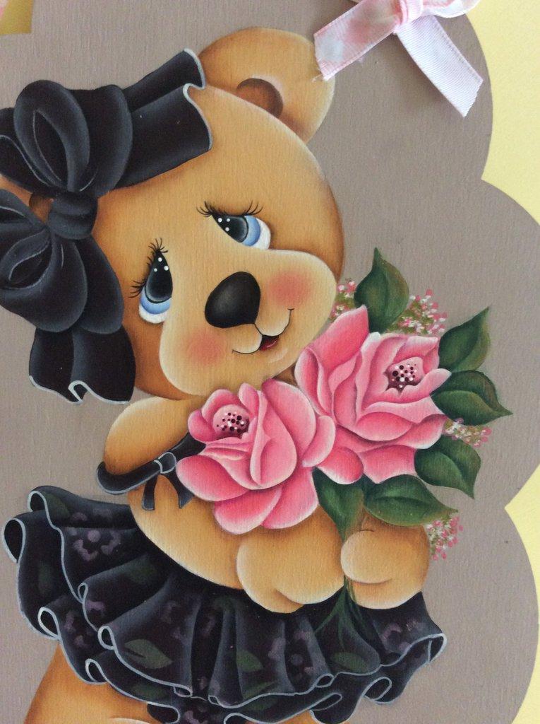 Quadretto orsetta con rose