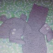 Cappellino, stivaletti e sciarpetta neonato lana uncinetto bebè