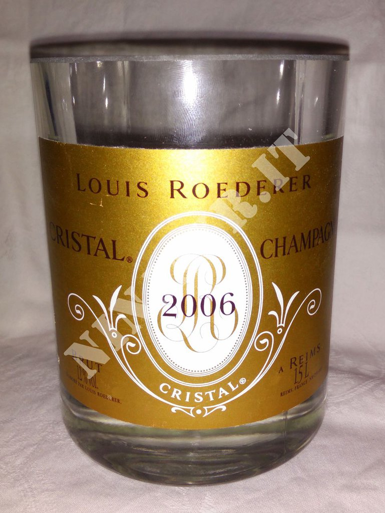 Vaso da Bottiglia Magnum di Champagne Cristal Louis Roederer idea regalo arredo design riciclo creativo.