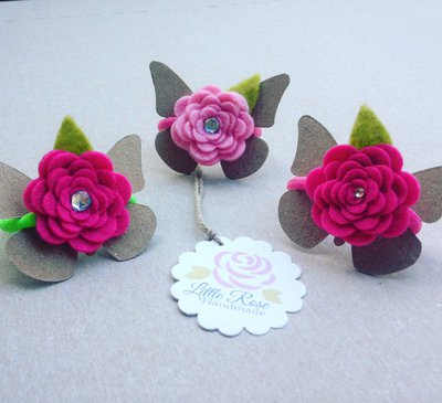 Un set di 2 Codini per capelli con Roselline by Little Rose Handmade