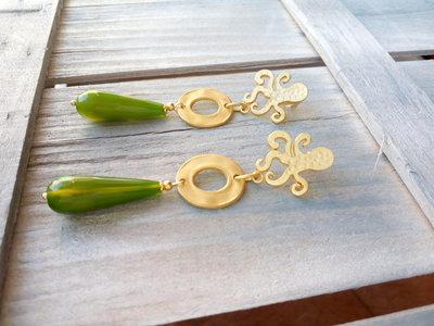 Orecchini oro e verde