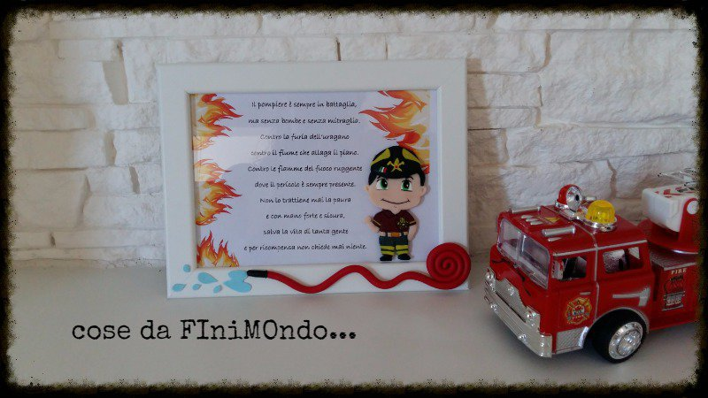 Cornice mestieri vigile del fuoco, pompiere